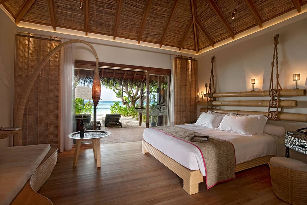 Inside a beach villa at Moofushi