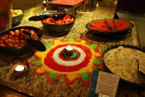 Divali decorations and dishes