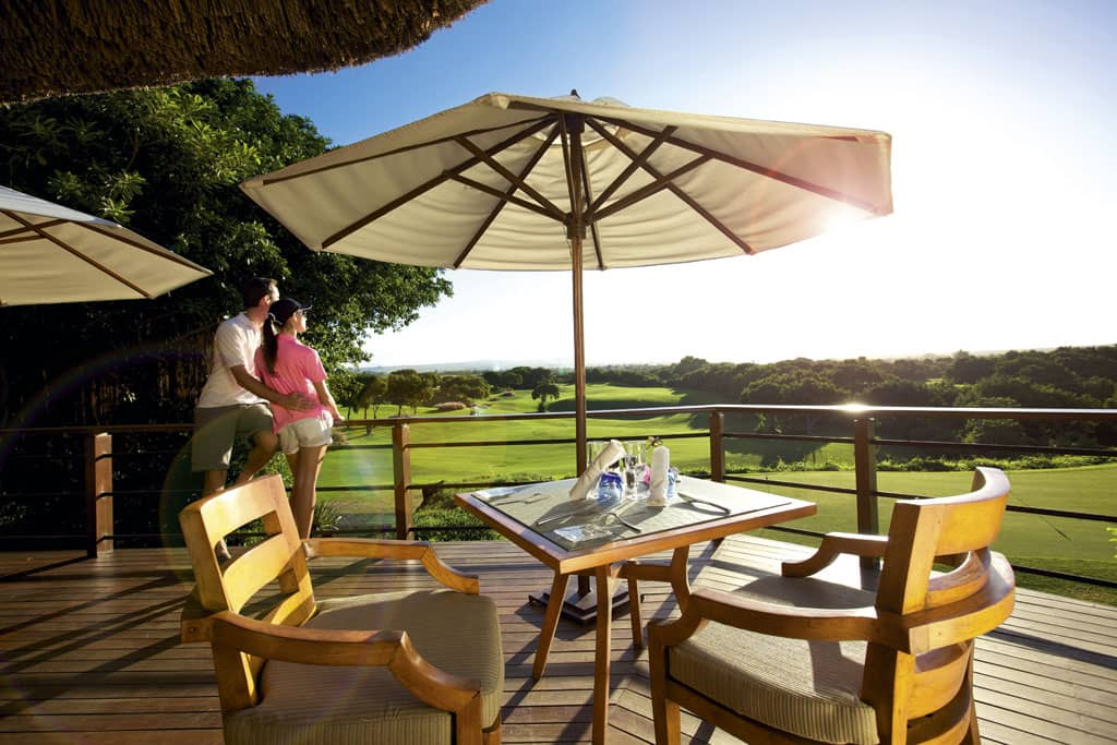 Links golf course and Swing restaurant at Constance Belle Mare Plage