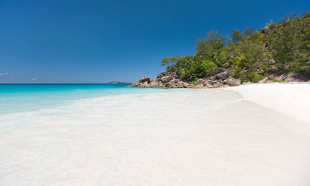 White sand beaches at Constance Lemuria Resort, Seychelles