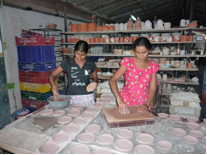 Making bowls at Anuradha Pottery