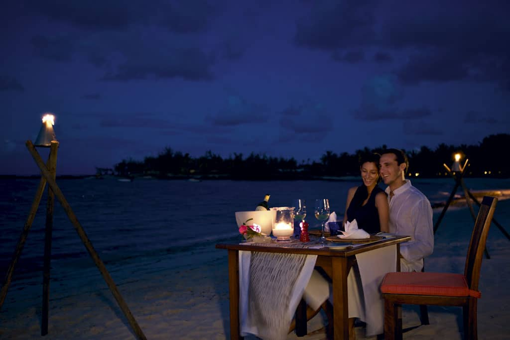 Beach dinner at Constance Belle Mare Plage, Mauritius