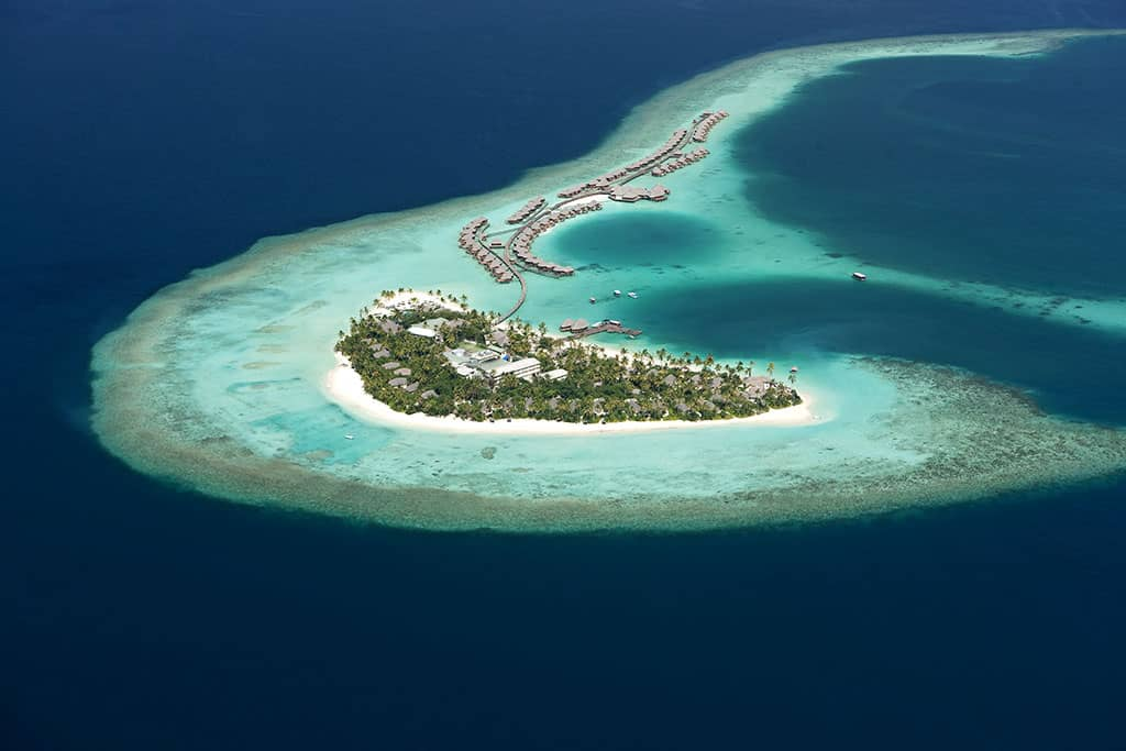 Aerial view, Constance Halaveli Resort, Maldives