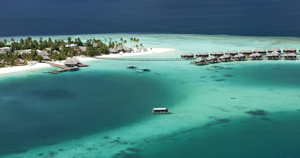 Water villas at Constance Halaveli Resort, Maldives