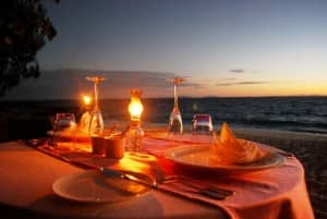 Dinner table on the beach at Constance Lodge Tsarabanjina, Madagascar