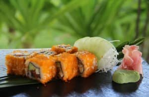 Avocado salmon tobikko California roll