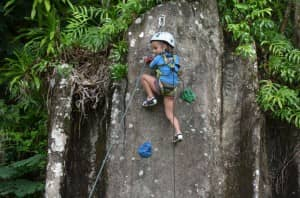 Kids climbing wall at Constance Ephelia Resort