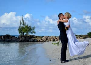 David and Carina Billam on the beach at Constance Le Prince Maurice