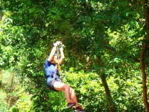 Zip lining at Constance Ephelia Resort