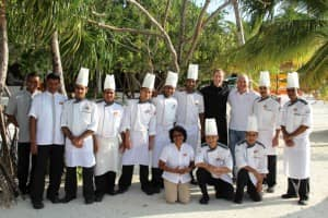 Chef Walter Ferretto and the team at Constance Halaveli, Maldives