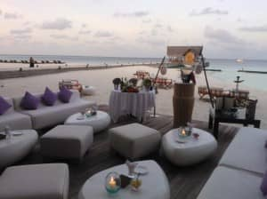 Champagne bar on the beach at Constance Moofushi, Maldives