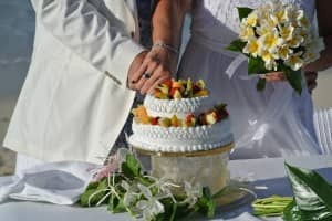 Wedding cake at Constance Belle Mare Plage, Mauritius