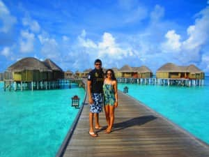 Justin Antony and Samantha Fernandes at Constance Halaveli, Maldives