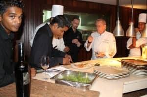 Preparation for Art de Vignes wine dinner, Constance Ephelia, Seychelles