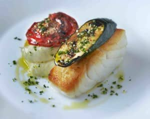 Roast cod with olive oil mash and gremolata