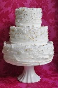 Ruffle wedding cake by Pink Rose Cakes
