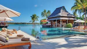 Poolside at Le Prince Maurice, Mauritius