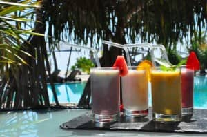 Fresh smoothies at Constance Halaveli, Maldives