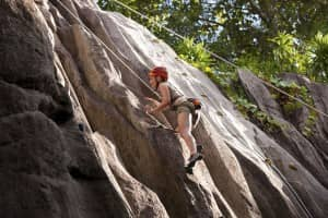 Rock climbing at Constance Ephélia, Seychelles