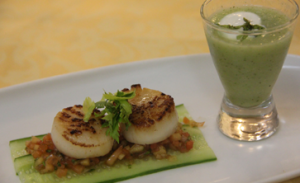 Seared scallops, papaya salsa, cucumber and mint shooter paired with Brokenwood Unwooded Chardonnay (Chardonnay 2007)