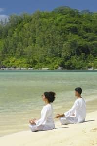Yoga on the beach at Ephélia