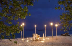 A romantic dinner on the beach