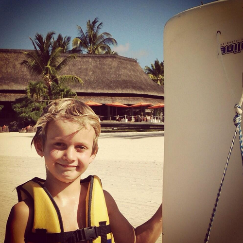 Luxury Travel Mom's Keaton after water sports in Mauritius