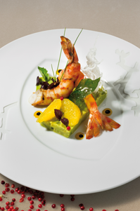 Roast shrimp, avocado tartar with orange