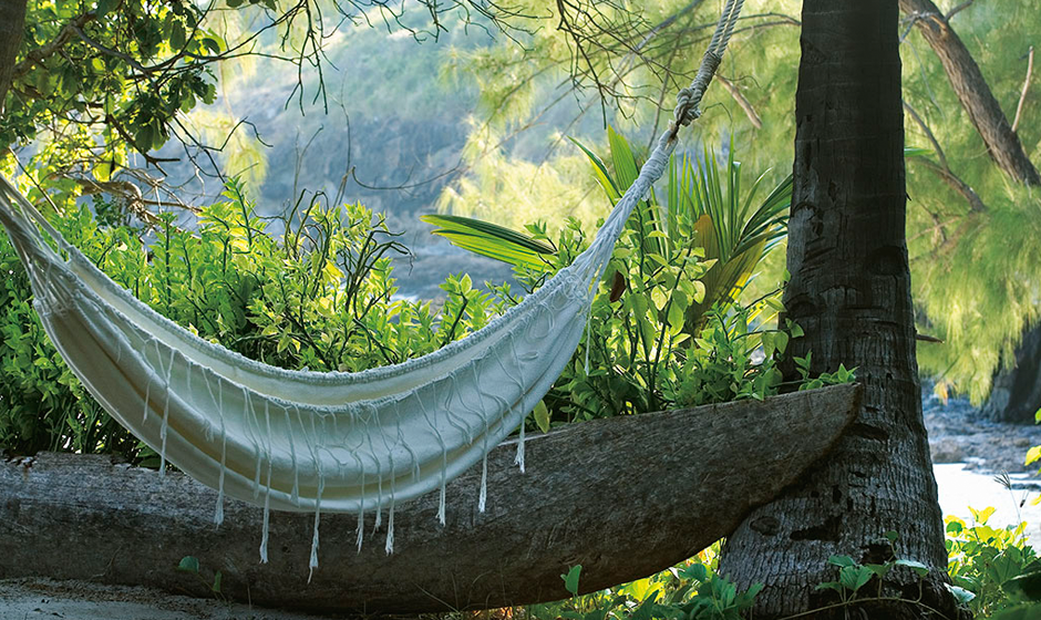 Catch the shade while relaxing in the hammock