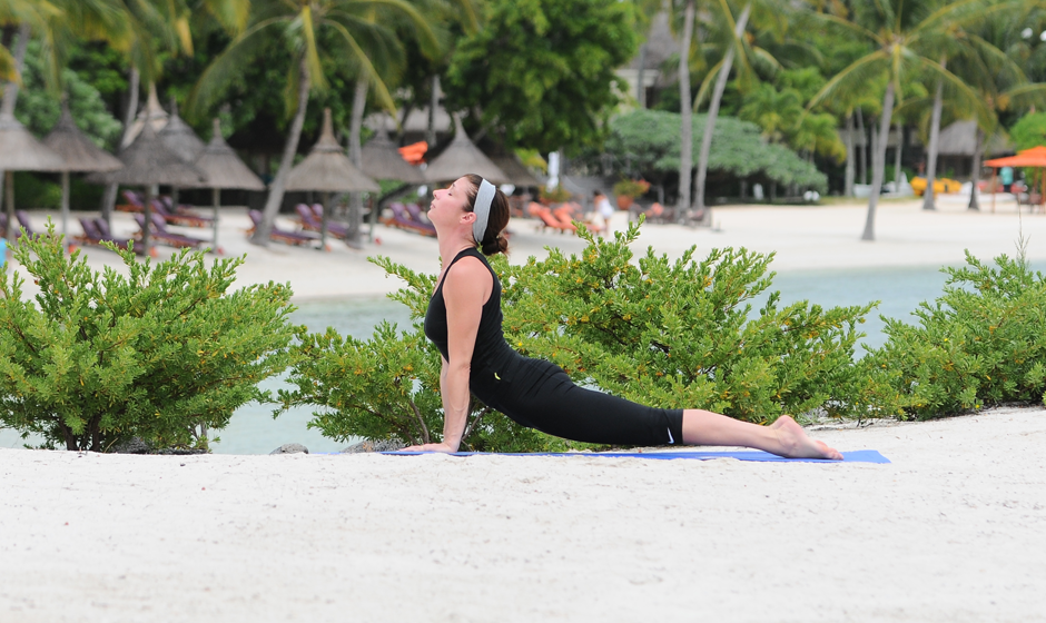 Yoga on the beach: Mimi Spencer