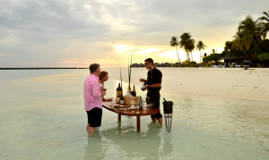 Sampling fine wines on the beach with Florian