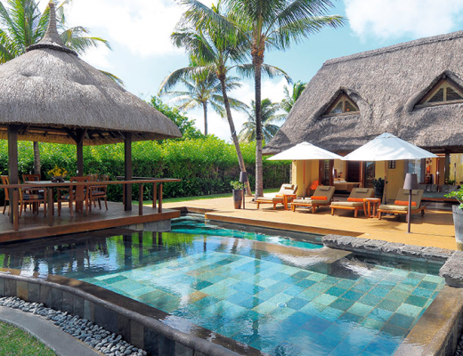 Poolside at Constance Belle Mare Plage's Presidential Villa