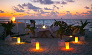 A romantic meal at Constance Halaveli, Maldives