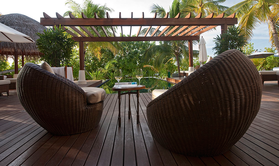 Relaxing on the deck of Halaveli's Presidential Villa