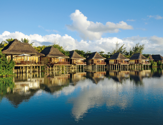 The luxurious suites on stilts, overlooking the lagoon at Constance Le Prince Maurice
