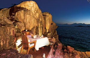 A romantic table for two at Constance Lémuria, Seychelles