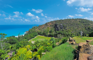 Tee off from a hilltop location in the Seychelles