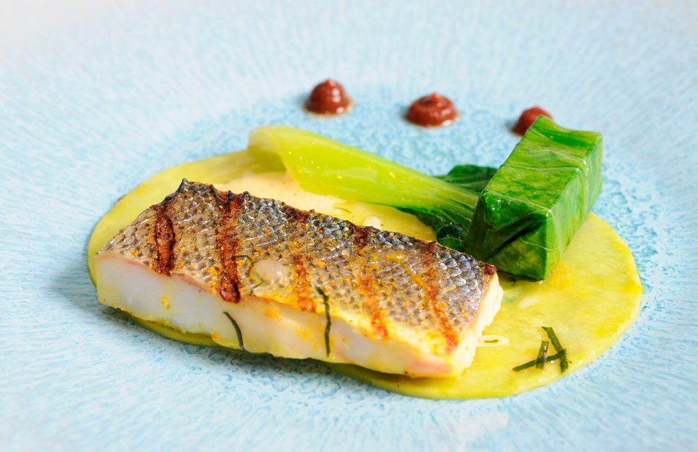 Team A's Main: Organic Grilled seabass from Gulf of Corinth with calebasse (gourd), claws and mussel curry broth