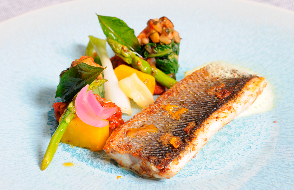 Team E's Main Dish: Pan fried seabass marinated with local chards and vegetables