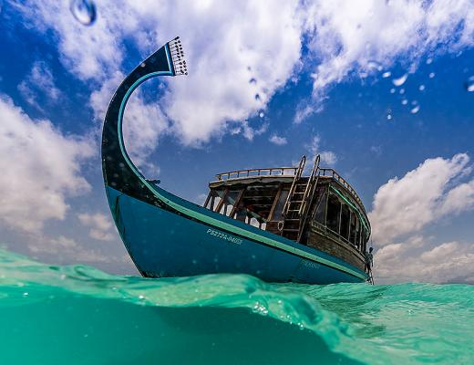 Dhoni boat at Constance Halaveli, Maldives