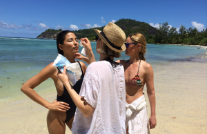 A warm day at the office for model Jessica Gomes & the makeup team at Marie Claire