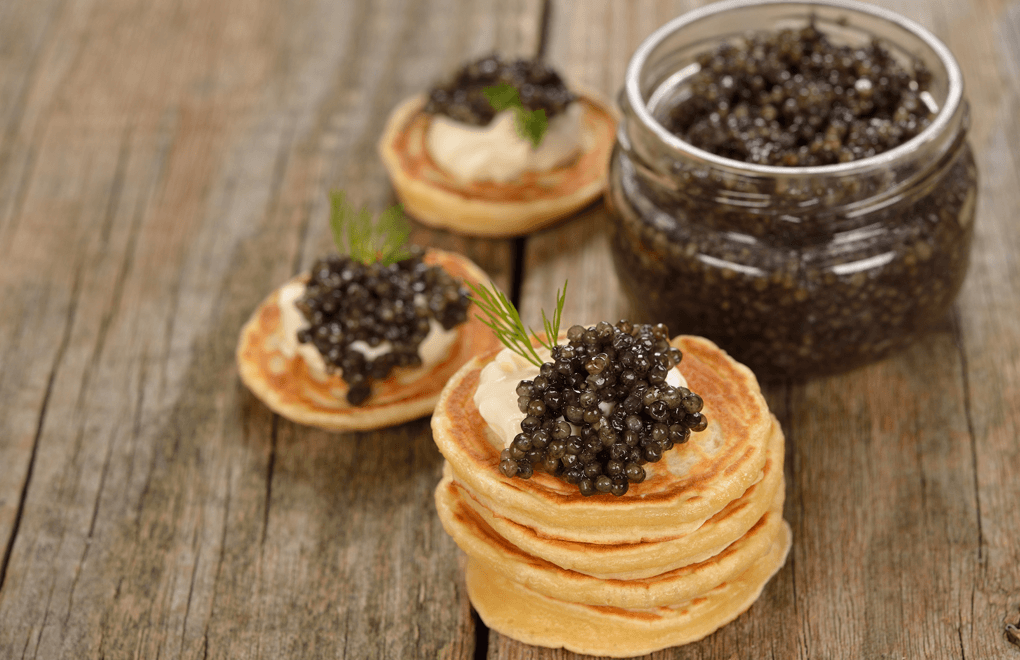 Luxury party food: caviar pancakes