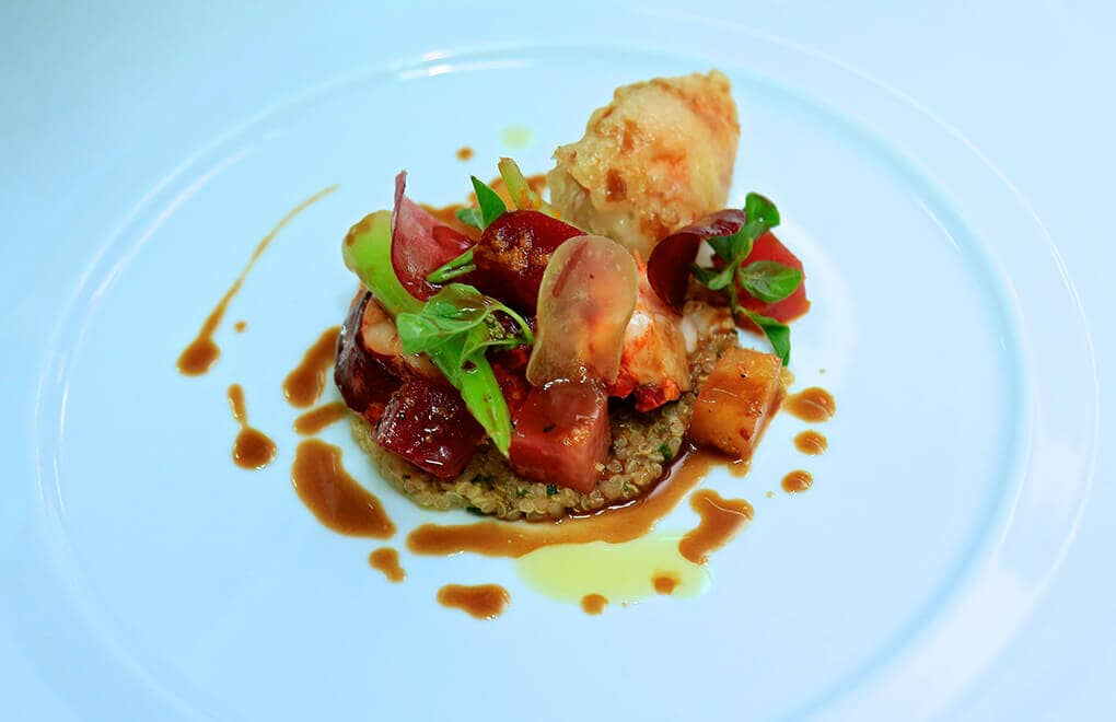 A Serge Vieira creation: Lobster Medallion with a beetroot salad