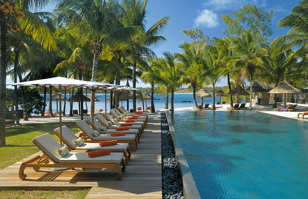 The pool at Constance Le Prince Maurice, where you can indulge in the best pedicure in Mauritius.
