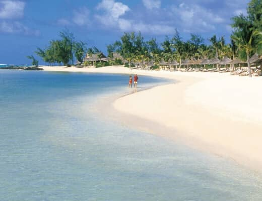 Take a romantic stroll along the beach at Le Prince Maurice during your winter sun holiday.