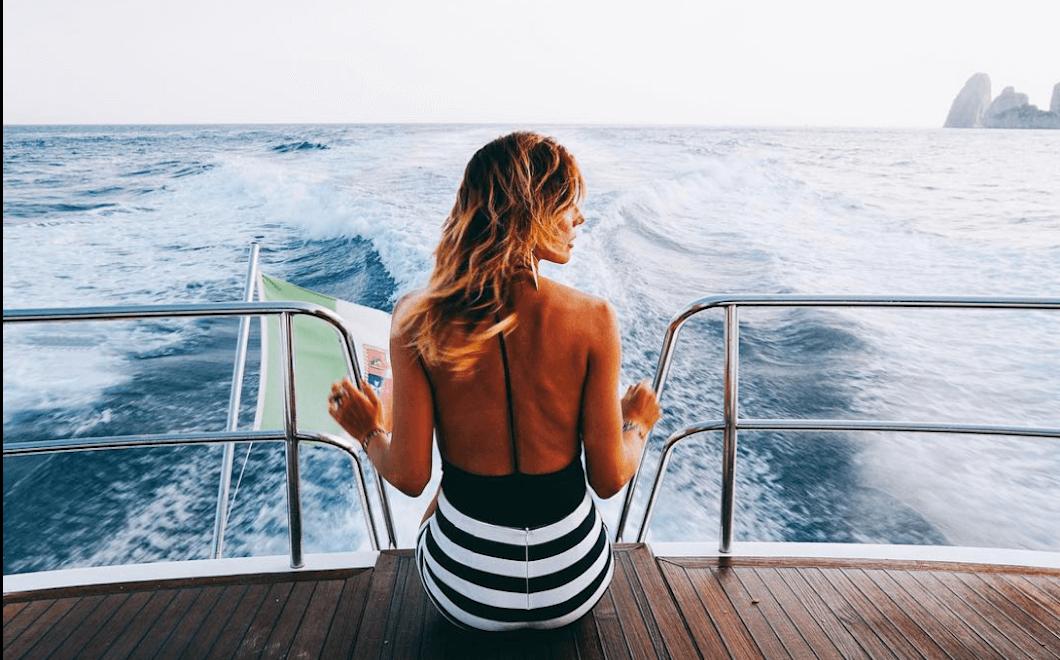 Alessandra Grillo enjoying a boat ride