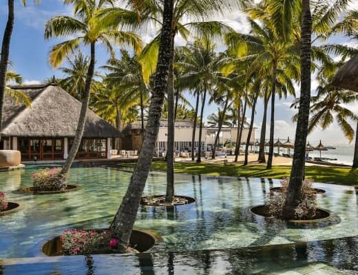 One of the beautiful pools of Constance Belle Mare Plage