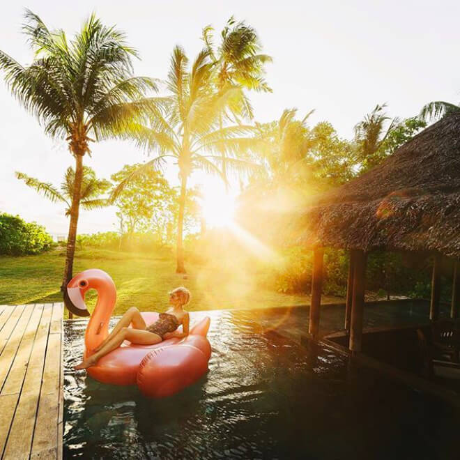 Flamingo inflatable at Constance Lemuria Seychelles