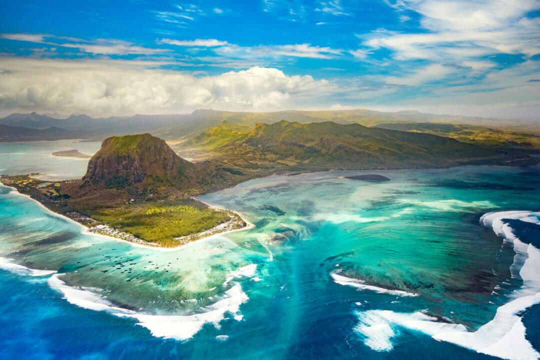 Le Morne Brabant Mauritius from the sky